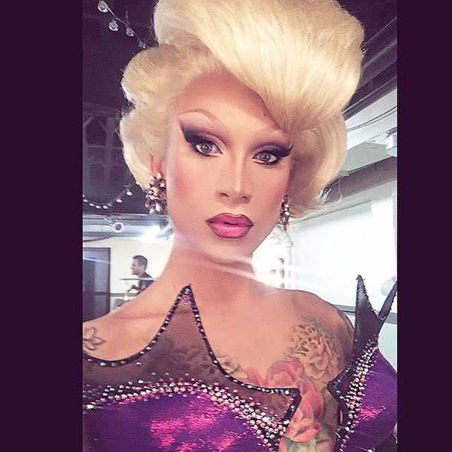 Famous Drag Queen Miss Fame in her custom lace front wig made to look like the hair of Linda Evangelista in the George Michael video ''too funky''